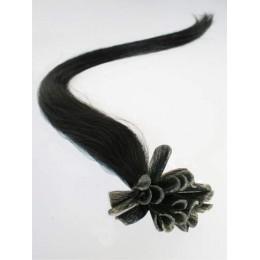 "24"" (60cm) Nail tip / U tip human hair pre bonded extensions – black"