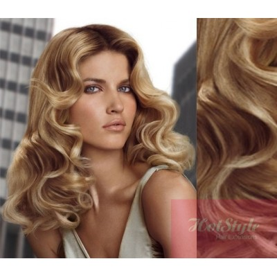 50cm wellige REMY Clip In Haare - naturblond/hellblond