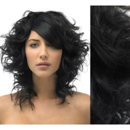 "20"" (50cm) Clip in curly human REMY hair - black"