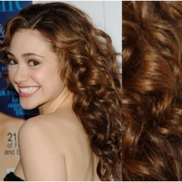 """20"""" (50cm) Clip in curly human REMY hair - medium brown"""
