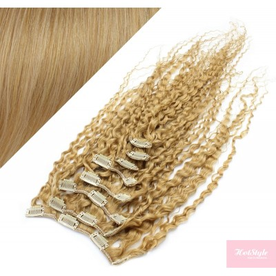 50cm lockige REMY Clip In Haare - naturblond