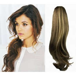 "Clip in ponytail wrap / braid hair extension 24"" wavy – dark brown / blonde"