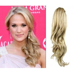 "Clip in ponytail wrap / braid hair extension 24"" curly – platinum / light brown"
