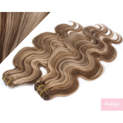 53 cm wellige REMY Clip In Deluxe Haare - dunkle Strähnchen