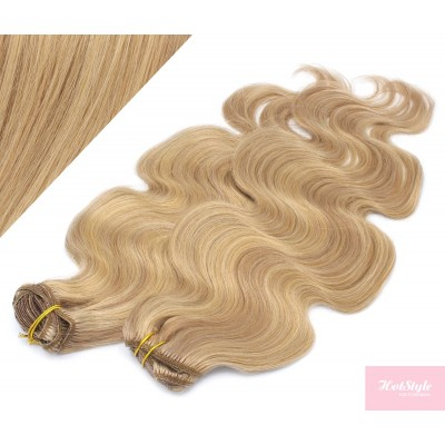 53 cm wellige REMY Clip In Deluxe Haare - naturblond/hellblond