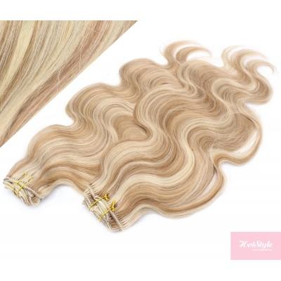 53 cm wellige REMY Clip In Deluxe Haare - helle Strähnchen