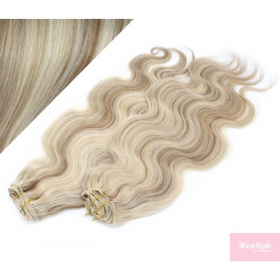 53 cm wellige REMY Clip In Deluxe Haare - platin/hellbraun