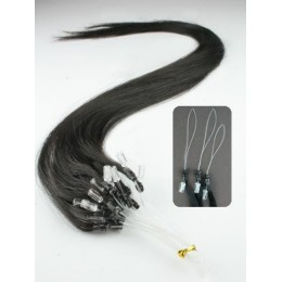 "24"" (60cm) Micro ring human hair extensions – natural black"