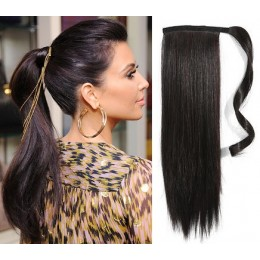 "Clip in ponytail wrap / braid hair extension 24"" straight - natural black"