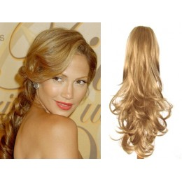 "Clip in ponytail wrap / braid hair extension 24"" curly – natural/light blonde"