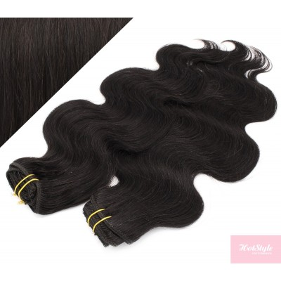 53 cm wellige REMY Clip In Deluxe Haare - schwarz natürlich