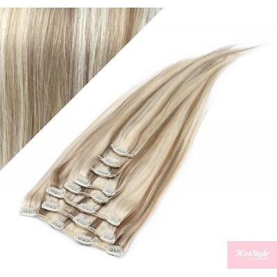 40cm REMY Clip In Haar - platin/hellbraun