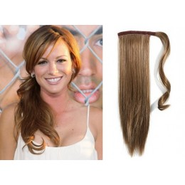 "Clip in human hair ponytail wrap hair extension 20"" straight - light brown"