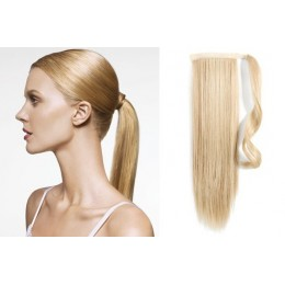 "Clip in human hair ponytail wrap hair extension 24"" straight - the lightest blonde"