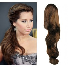 "Clip in human hair ponytail wrap hair extension 20"" wavy - medium brown"