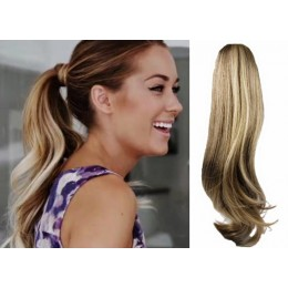 "Clip in human hair ponytail wrap hair extension 20"" wavy - mixed blonde"