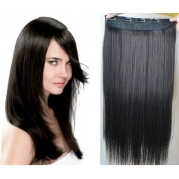 24˝ one piece full head clip in hair weft extension straight – black