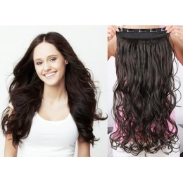 20˝ one piece full head clip in hair weft extension wavy – black