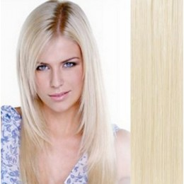 "24"" (60cm) Clip in human REMY hair - platinum blonde"