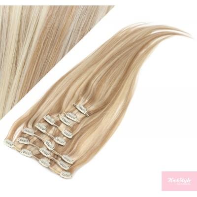 60cm REMY Clip In Haar - helle Strähnchen