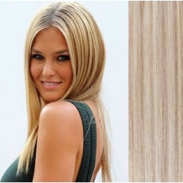 "24"" (60cm) Clip in human REMY hair - platinum/light brown"