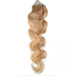60cm Wellige Micro ring/easy loop haare REMY – naturblond