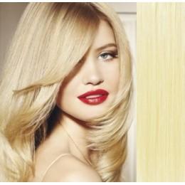 70cm REMY Clip In Haar - weißblond