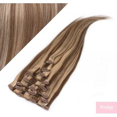 43cm REMY Clip In Haar 100g - dunkle Strähnchen