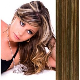 Clip in human hair remy bang/fringe – dark brown/blonde