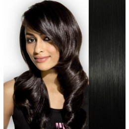 """Clip in human REMY hair 15"""" - black"""