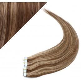 60cm Tape in Haare REMY - dunkle Strähnchen