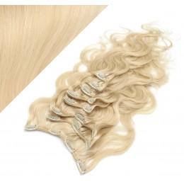 50cm wellige REMY Clip In Haare - weißblond