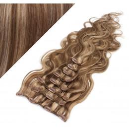 50cm wellige REMY Clip In Haare - dunkle Strähnchen