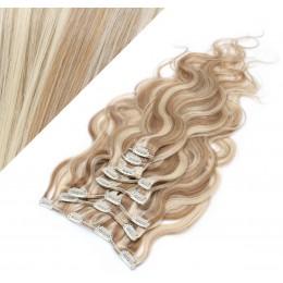 50cm wellige REMY Clip In Haare - helle Strähnchen