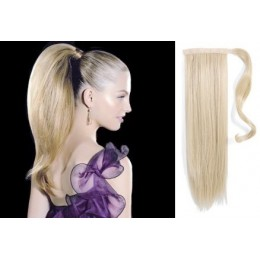 "Clip in ponytail wrap / braid hair extension 24"" straight - platinum blonde"