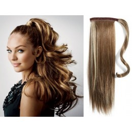 "Clip in ponytail wrap / braid hair extension 24"" straight - dark brown / blonde"