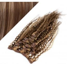 50cm lockige REMY Clip In Haare - dunkle Strähnchen