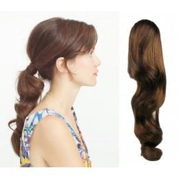 "Clip in ponytail wrap / braid hair extension 24"" wavy – medium brown"