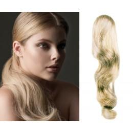 """Clip in ponytail wrap / braid hair extension 24"""" wavy – platinum blonde"""