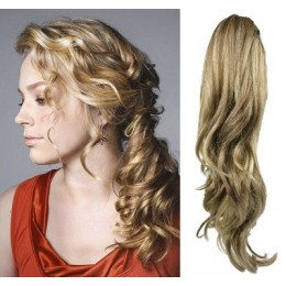 "Clip in ponytail wrap / braid hair extension 24"" curly – mixed blonde"