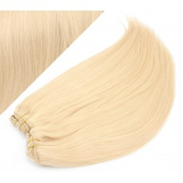 43 cm gerade REMY Clip In Deluxe Haare - weißblond