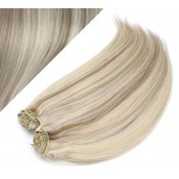 43 cm gerade REMY Clip In Deluxe Haare - platin/hellbraun