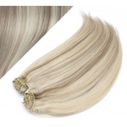 53 cm gerade REMY Clip In Deluxe Haare - platin/hellbraun