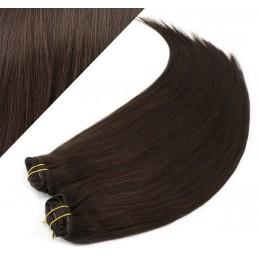 63 cm gerade REMY Clip In Deluxe Haare - dunkelbraun