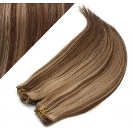 63 cm gerade REMY Clip In Deluxe Haare - dunkle Strähnchen