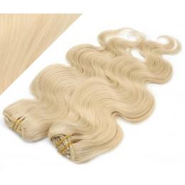 53 cm wellige REMY Clip In Deluxe Haare - weißblond