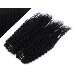 53 cm lockige REMY Clip In Deluxe Haare - schwarz