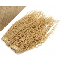 53 cm lockige REMY Clip In Deluxe Haare - naturblond