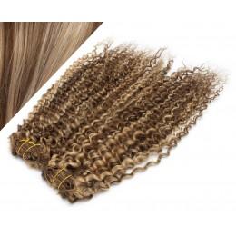 53 cm lockige REMY Clip In Deluxe Haare - dunkle Strähnchen