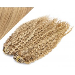 53 cm lockige REMY Clip In Deluxe Haare - naturblond/hellblond